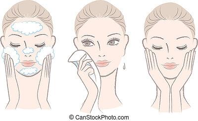 nő, alatt, eljárás, helyett, mosakszik arc