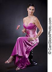 nő, alatt, estélyi ruha