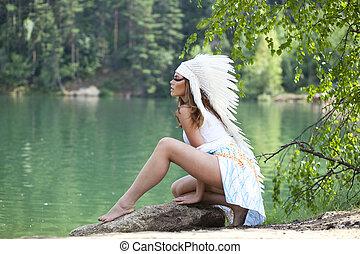 nő, alatt, jelmez, közül, american indian