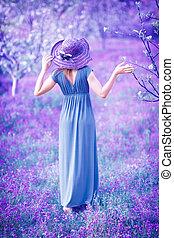 nő, alatt, képzelet, kert