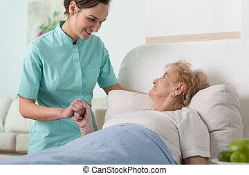 nő, alatt, kórház ágy