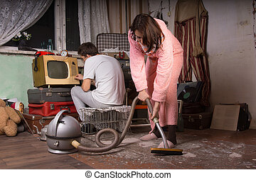 nő, alatt, köntös, takarítás, egy, mocskos szoba, használ, űr