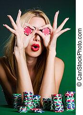 nő, alatt, kaszinó, kártyázás