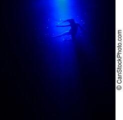 nő, alatt, mély, blue óceán