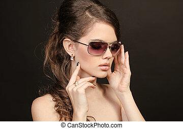 nő, alatt, napszemüveg, felett, fekete