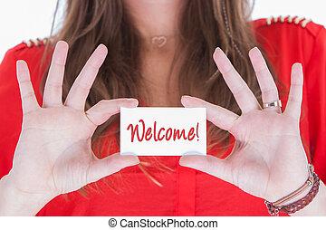 nő, alatt, piros, kiállítás, egy, névjegykártya