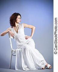 nő, alatt, retro, bridal ruha