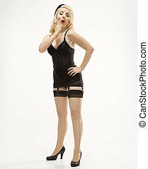 nő, alatt, retro, lingerie.