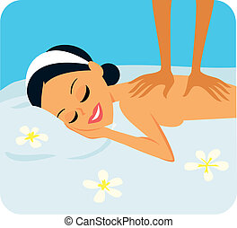 nő, alatt, spa bánásmód
