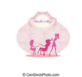 nő, alatt, szépség salon