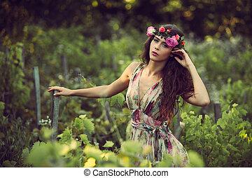 nő, alatt, szőlőskert