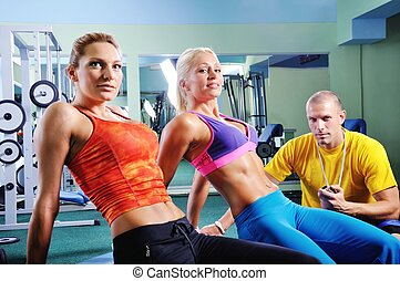 nő, alatt, tornaterem, gyakorlás, noha, személyes, alkalmasság oktató