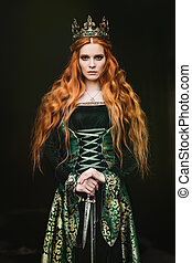nő, alatt, zöld, középkori, ruha