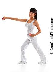 nő, alkalmasság gyakorlás, tréning