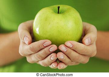 nő, alma, kézbesít