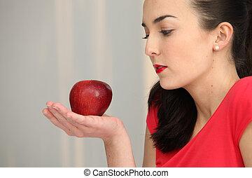 nő, alma, neki, kéz, pálma, birtok, piros