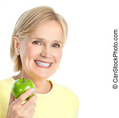 nő, alma