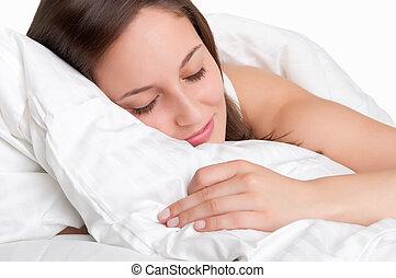 nő, alvás