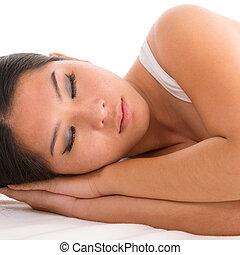 nő, alva, ázsiai