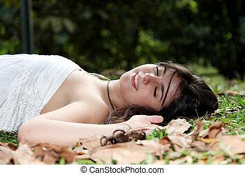 nő, alva