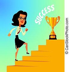 nő, arany, cup., betű, siker, ügy, mászó, mosolygós, lépcsősor, boldog