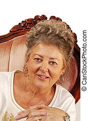 nő, armchair., idősebb ember