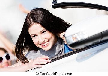 nő, autó, feláll sűrű, fehér, kilátás