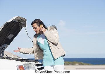 nő, autó, letör, segítség