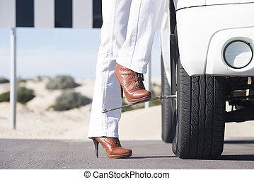 nő, autó, letör, távoli, út