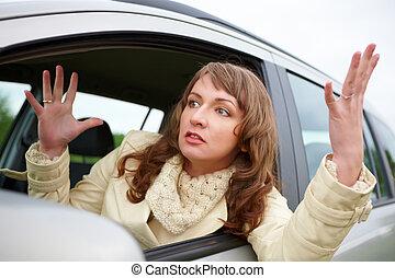 nő, autó, mérges, fiatal, ülés