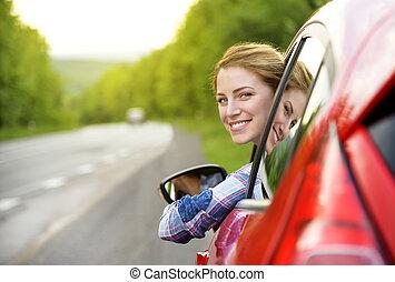 nő, autó., piros