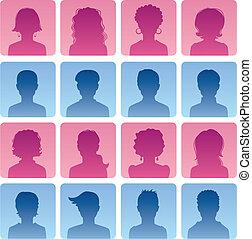 nő, avatars, ember