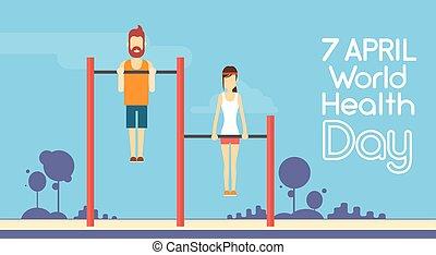 nő, bár, világ, tréning, feláll, sport, április, egészség,...