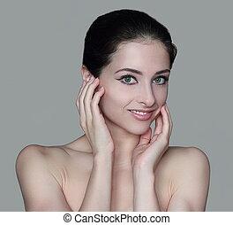nő, bőr, kézbesít, szépség, elszigetelt, arc, két, szürke, egészséges, háttér.