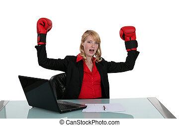 nő, -ban, neki, íróasztal, noha, ökölvívás kesztyű