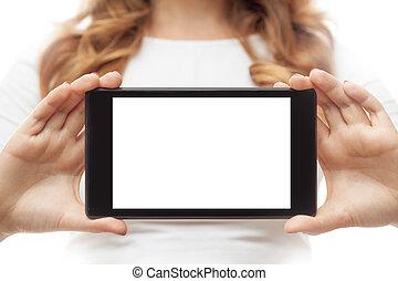 nő, befolyás, tabletta pc, white