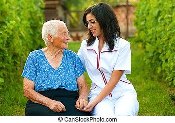 nő, beszélgető, öregedő