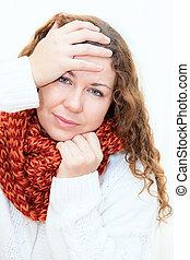 nő, beteg, szvetter, piros háttér, hideg, fehér, sál
