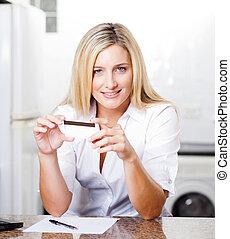 nő, birtok, fiatal, hitel, meglehetősen, kártya