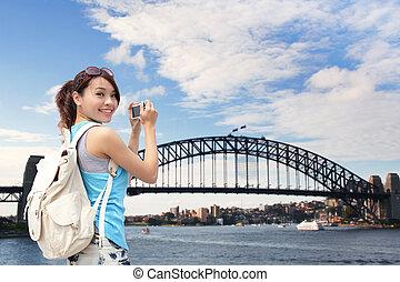 nő, boldog, ausztrália, utazó