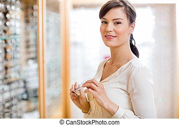nő, bolt, látszerész, hatalom szemüveg