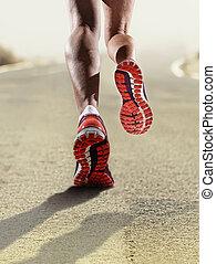 nő, cipők, atlétikai, futás, feláll, kocogás, sport, erős, női, becsuk, combok, hátsó kilátás