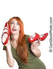 nő, cipők, meglehetősen