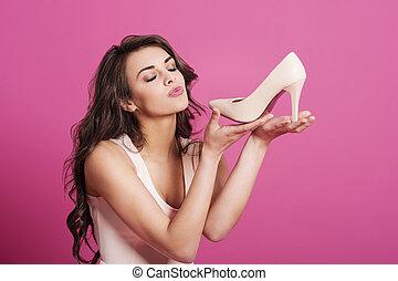 nő, cipők, neki, magas, narkomániás, csókolózás, dönt, új