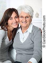 nő, closeup, fiatal, öregedő