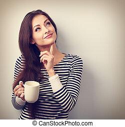 nő, coffee., csésze, gondolkodó, szüret, érintett, fiatal,...