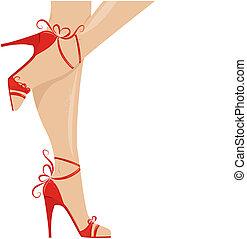 nő, combok, alatt, mód, cipők