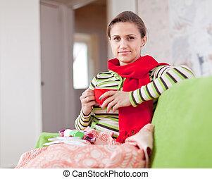 nő, csésze, betegség, csípős