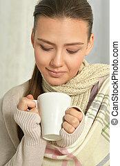 nő, csípős, beteg, tea, ivás
