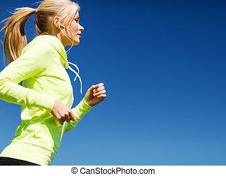 nő, cselekedet, futás, szabadban
